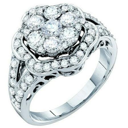 2.00 Carat (ctw) 14K Gold Round Cut White Diamond Ladies Cluster Flower Engagement Ring 2 CT