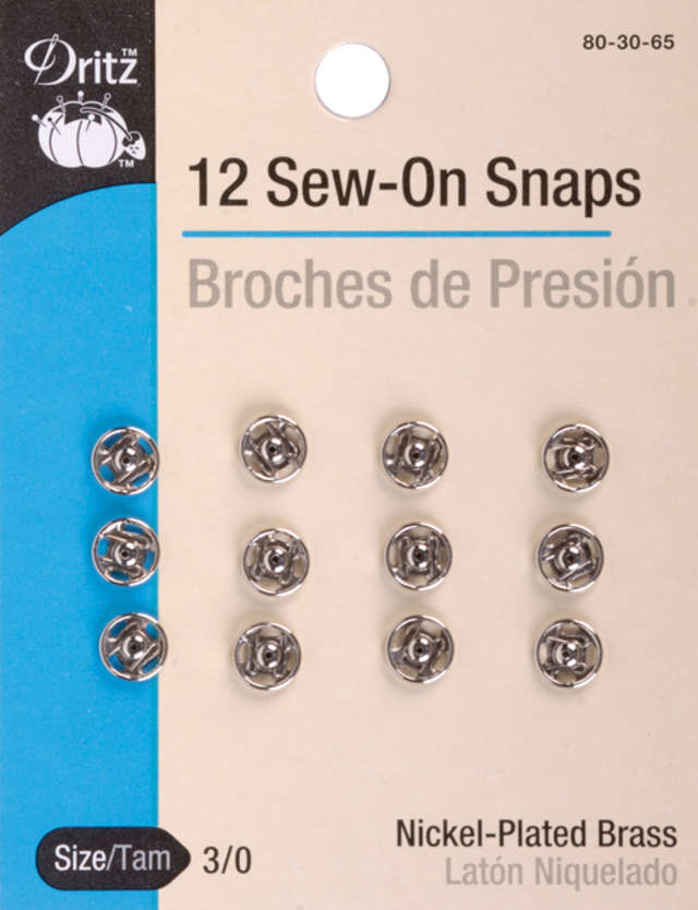 Dritz 80-125-1 Sew-On Snaps 30mm 2//Pkg-Black
