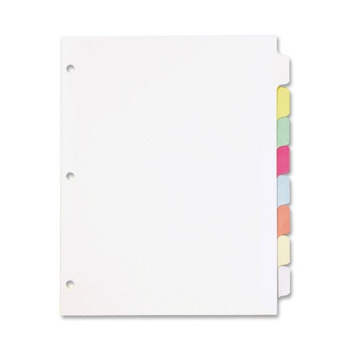 "Cardinal Write 'n Erase Tab Divider - 8 X Divider - Write-on - 8 Tab[s]/set - 9"" X 11"" - 1 / Set - White Divider - Multicolor Tab (CRD60808)"