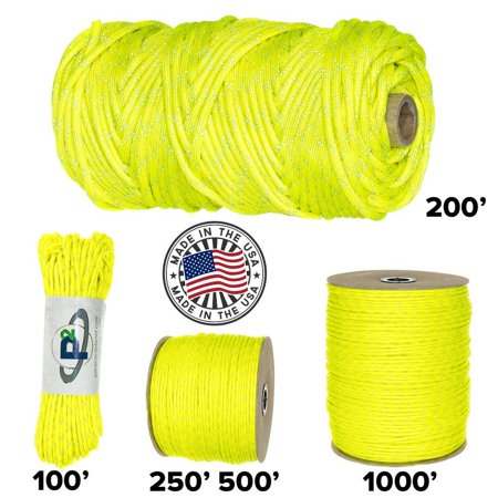 Paracord Planet 700lb Criss Cross Double-Reflective Paracord - 2 Bright Retro-Reflective Tracers for the Best in High-Visibility Cord - 100% Nylon Cord is Made in the USA Reflective Neon Yellow 100 Fe - Paracord Cross Instructions