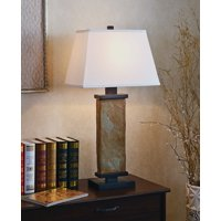 Kenroy Home Natural Slate Table Lamp, 29 Inch Height, White Rectangular Shade
