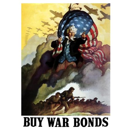 Vintage Uncle Sam - StockTrek Images  Digitally Restored War Propaganda Poster. This Vintage World War Two Poster Features Uncle Sam Holding An American Flag & Urging Troops & Bombers Forward Into Battle. It Declares -