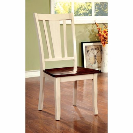 Dover Side Chair With Wooden Seat, Cherry & White Finsih, Set Of (Cherry Seating)