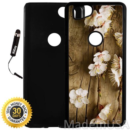 Custom Google Pixel 2 Case (Cherry Blossom Wood) Plastic Black Cover Ultra Slim | Lightweight | Includes Stylus Pen by Innosub Black Cherry Two Light