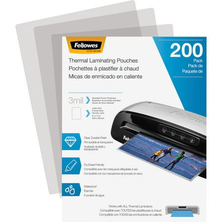 Fellowes Laminating Pouch, 3 mil, 200 pack 100 Hot Laminating Pouches