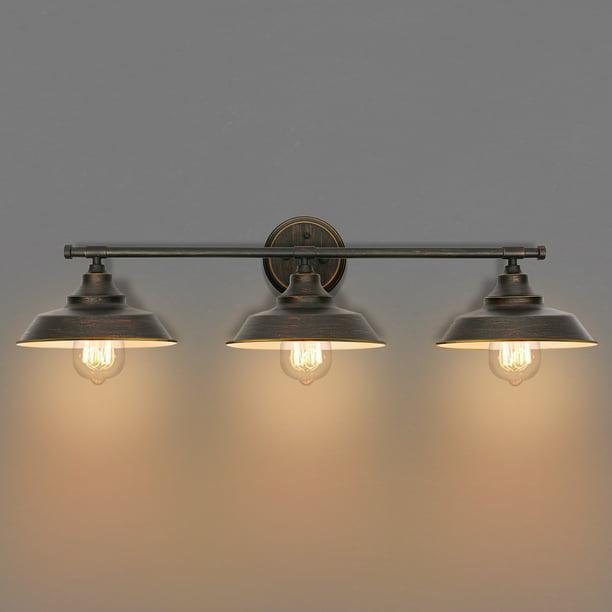 Industrial Farmhouse Style 3 Light Bathroom Vanity Light Fixture Oil Rubbed Bronze Walmart Com Walmart Com
