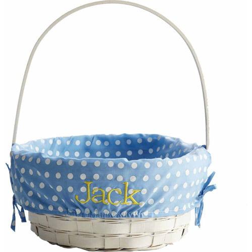"""Personalized 10"""" Wicker Easter Basket, Blue"""