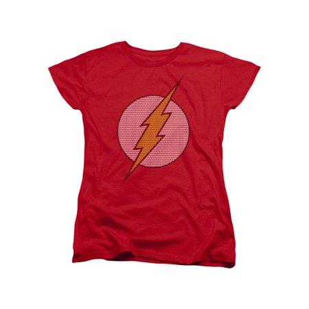 The Flash DC Comics Superhero Dotted Classic Bolt Logo Women's T-Shirt (Superhero T Shirts Women's)