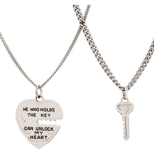 Sterling Silver Heart and Key Pendant Set, 18""