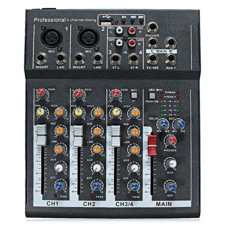 Live Sound Console - Portable Pro 4 Channel Live Studio Audio Sound Mixer USB Mixing Console 48V