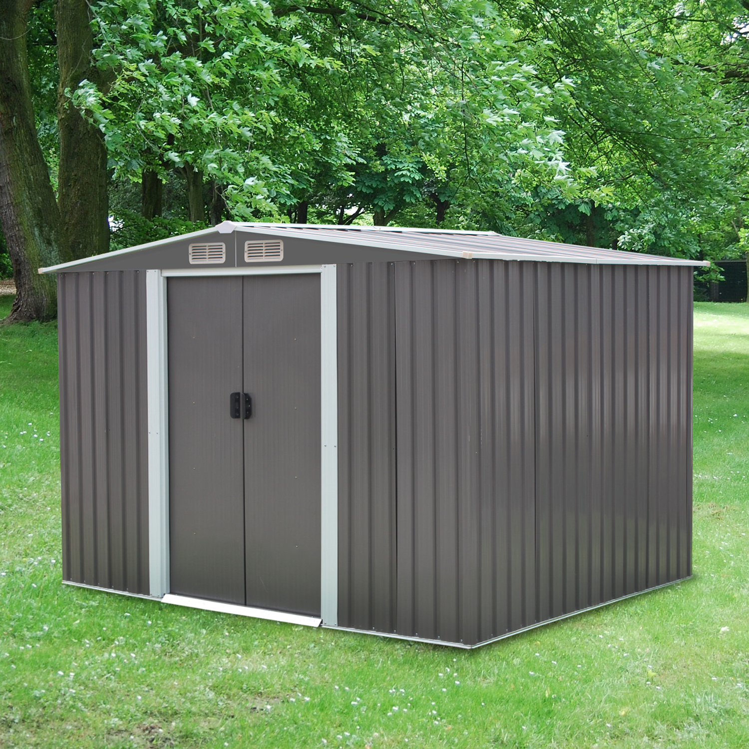 Kinbor 8' x 6' Outdoor Steel Garden Storage Utility Tool Shed Backyard Lawn Grey w/Door