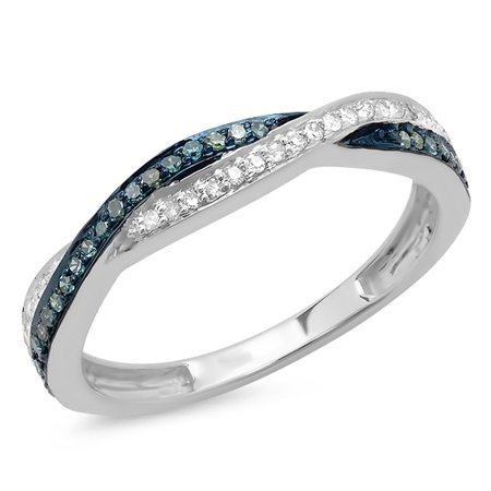 0.25 Carat (ctw) 18K Gold Round Blue & White Diamond Anniversary Wedding Band Swirl Matching Ring 1/4 CT