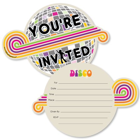 70's Disco - Shaped Fill-In Invitations - 1970s Disco Fever Party Invitation Cards with Envelopes - Set of (Disco Ball Invitations)