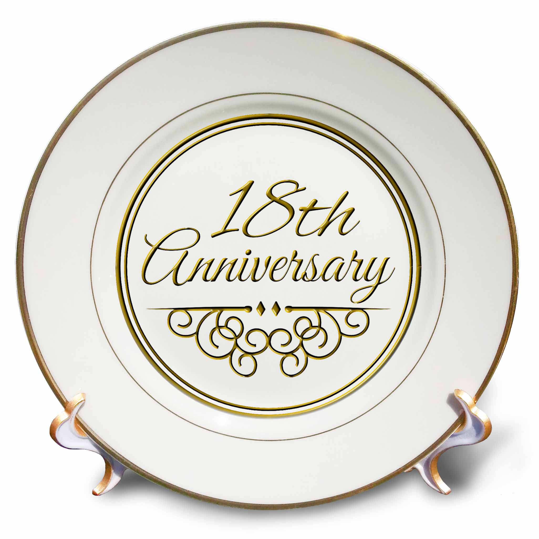 3dRose 18th Anniversary gift - gold text for celebrating wedding anniversaries - 18 years married together, Porcelain Plate, 8-inch