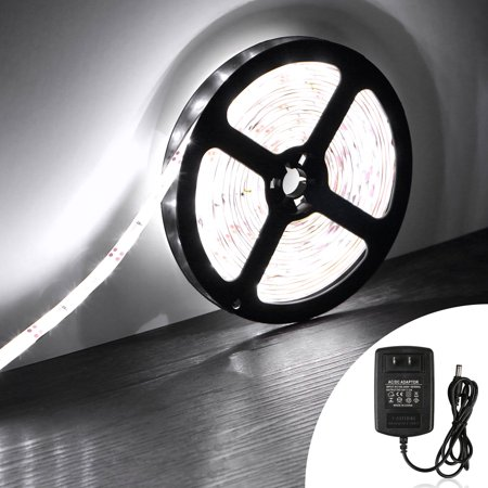 16.4ft LED Strip Lights, SMD 5050 300LEDs Waterproof RGB Light Strips White Color Flexible Lamp Strip Kit w/ DC 12V Power Adapter for Kitchen Bedroom Sitting