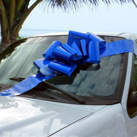 - Big Royal Blue Car Bow - Large Ribbon Gift Decoration, Fully Assembled, 25
