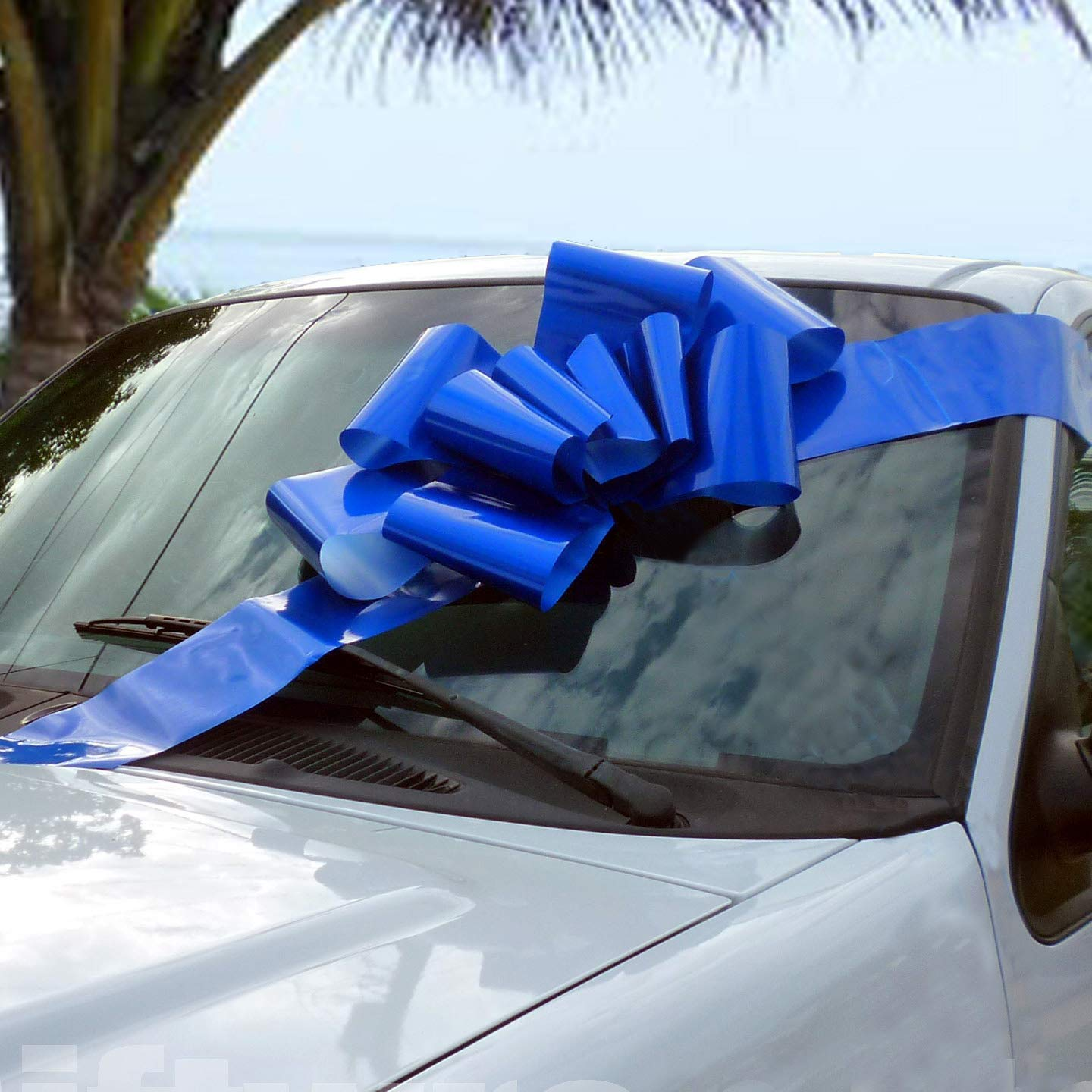 "Big Royal Blue Car Bow - Large Ribbon Gift Decoration, Fully Assembled, 25"" Wide, Christmas, Birthday, Graduation"