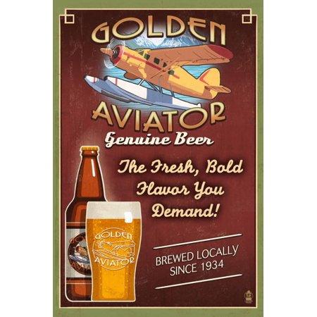 Vintage Aviator Wall (Aviator Beer - Vintage Sign Print Wall Art By Lantern Press)