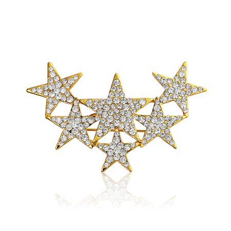 Large Statement Fashion Patriotic 6 Crystal Stars Brooch Pin For Women Gold Plated Estate Yellow Brooch