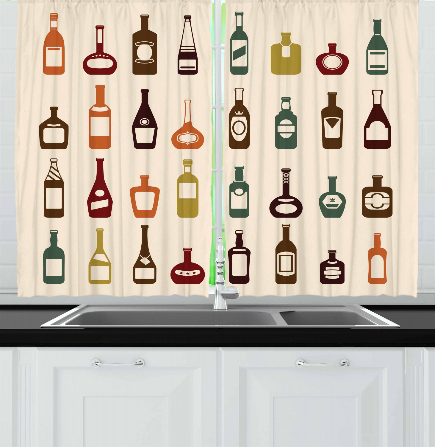 Alcohol Curtains 2 Panels Set Bottles Of Various Alcoholic Strong Drinks Pattern With Whiskey Brandy And Cognac Window Drapes For Living Room Bedroom 55w X 39l Inches Multicolor By Ambesonne Walmart Com