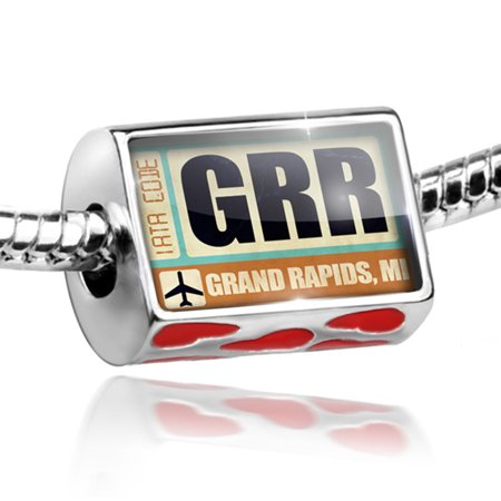 Bead Airportcode GRR Grand Rapids, MI Charm Fits All European Bracelets (Halloween Usa Grand Rapids Mi)