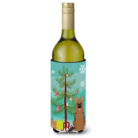 Merry Christmas Tree German Shepherd Wine Bottle Beverge Insulator Hugger - Wine Bottle Trees