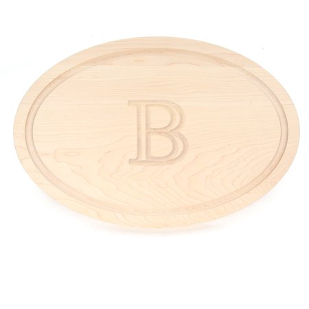 BigWood Boards 420-B Carving Board, Oval Trencher with Juice Well, Large Monogrammed Cutting Board with Groove, Maple Wood Serving Tray,
