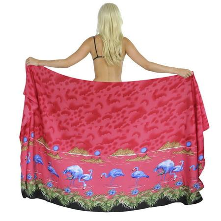7b478392fe LA LEELA - LA LEELA Beach Wrap Sarong Swim cover up Women s Swimwear  Printed Red Flamingo plus - Walmart.com