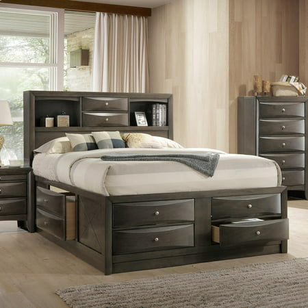 ACME Ireland Queen Bed with Storage in Black Rubberwood, Multiple Sizes ()