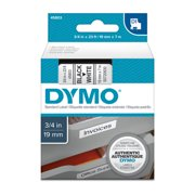 "DYMO D1 High-Performance Polyester Removable Label Tape, 3/4"" x 23 ft, Black on White"