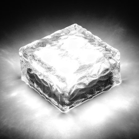 Waterproof Solar Path Ice Cube Rocks LED Frosted Glass Brick Paver Garden Light Pure White