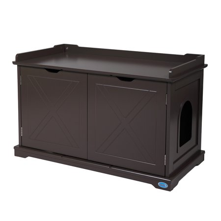 Jaxpety Cat Washroom Storage Bench Wooden Litter Box Furniture, Spacious Inner with Removable Panel, Magnetized Double Doors, Side Entrances, Chocolate Merry Products Cat Washroom