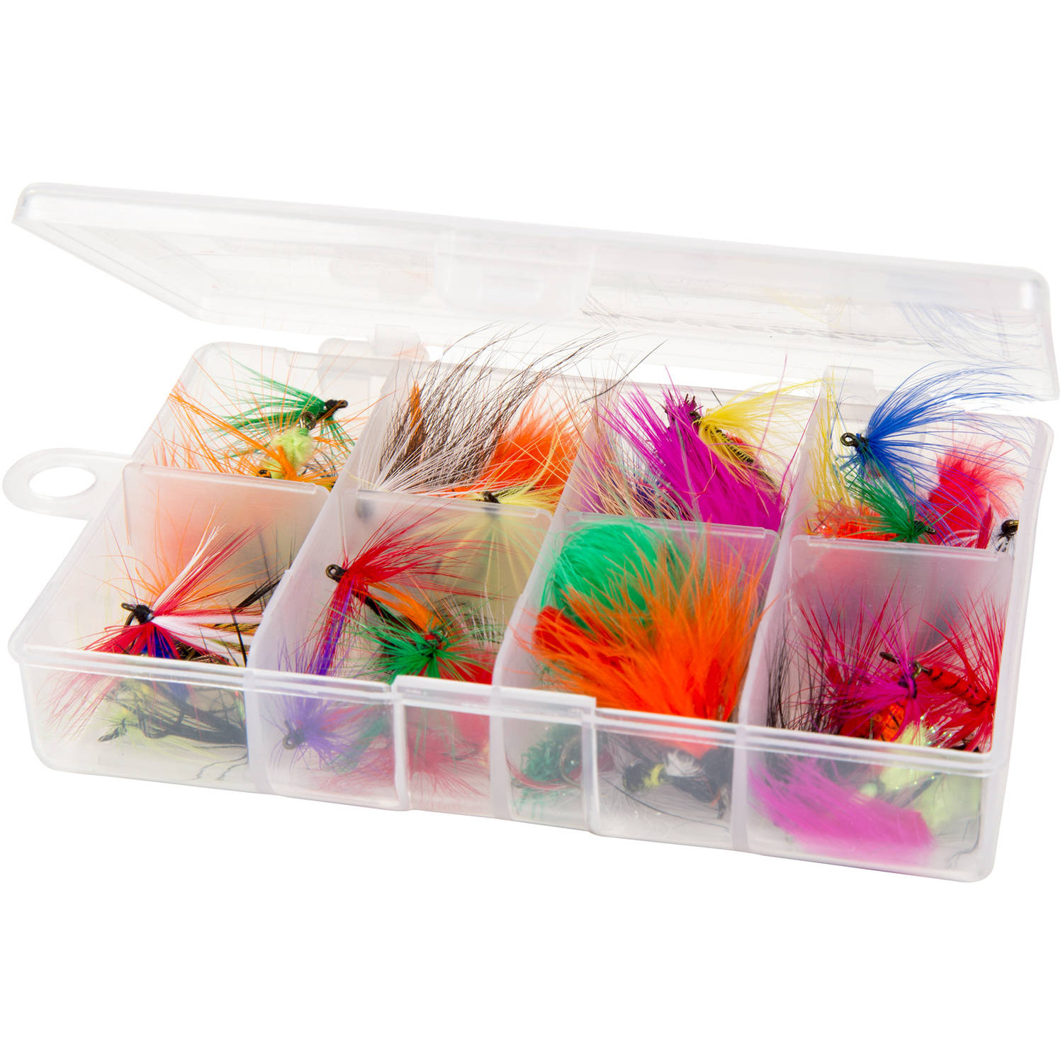 Fly Fishing Lures- 50 Brightly Colored Assorted Dry Insect Flies, Fishing Equipment for Catch and Release in Organizer Tool Box by Wakeman Outdoors