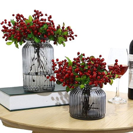 10 Pcs Plastic Artificial Flowers California Berries Rich Red Artificial Berry Stems Holly Christmas Berries for Festival Holiday and Home