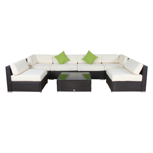 Auro 7 Piece Outdoor Wicker Modular Seating Set with Aluminum Frame by Auro Furniture