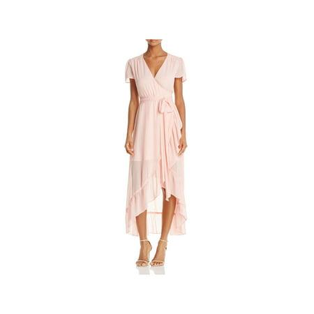 WAYF Womens Meryl Sheer Flutter Sleeves Wrap Dress Pink -