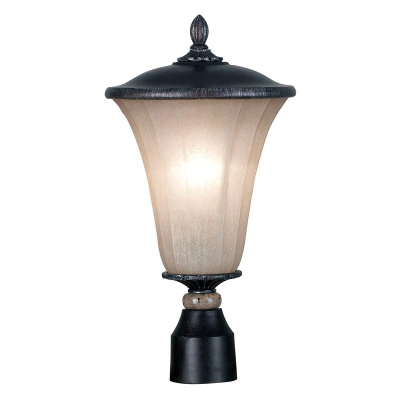 Kenroy Home 10173MBZ Leafston 1-Light Medium Post Lantern - 18H in. Mercury Bronze