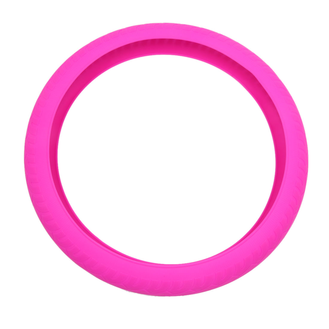 34cm Outer Dia Fuchsia Silicone Anti-Slip Steering Wheel Cover Protector for Car