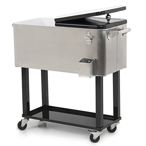 GHP 80-Quart Capacity Stainless Steel Rolling Ice Cooler Chest with Bottom Tray