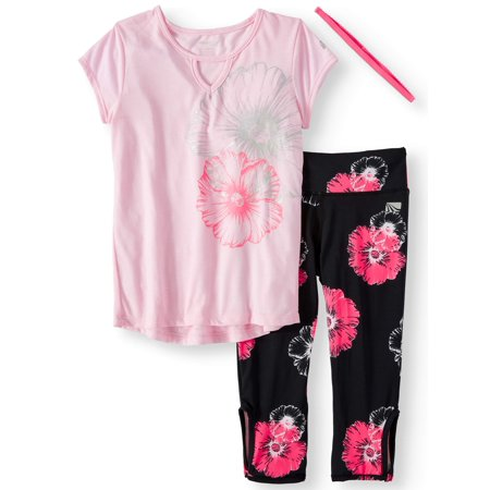 Hi-Lo Top and Floral Performance Legging, 2-Piece Active Set (Little Girls & Big Girls) ()