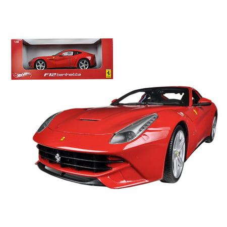 Ferrari Diecast Model Car (Ferrari F12 Berlinetta Red 1/18 Diecast Car Model by Hotwheels)