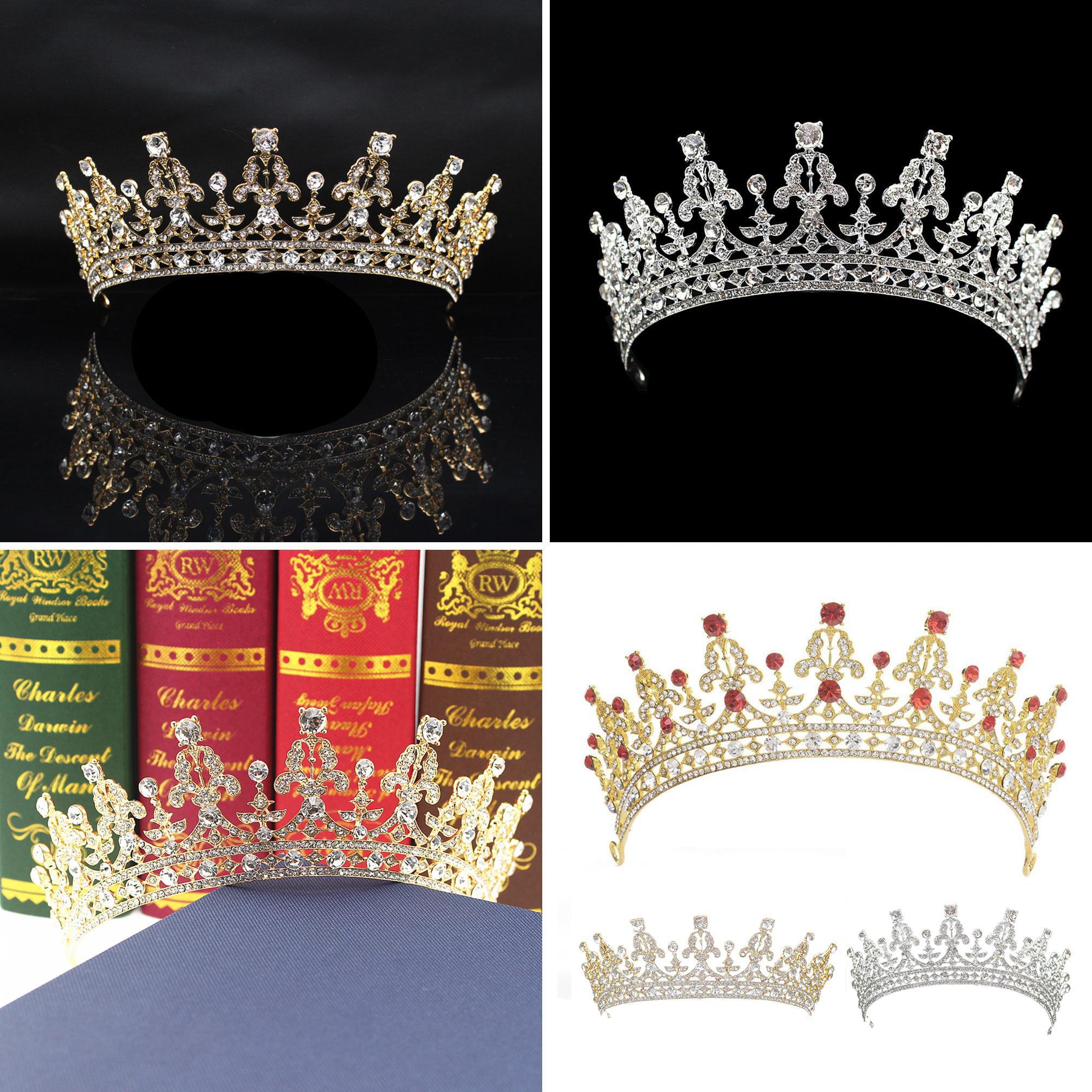 Micelec Luxury Queen Bride Princess Crown Shiny Rhinestone Headband Women's Jewelry