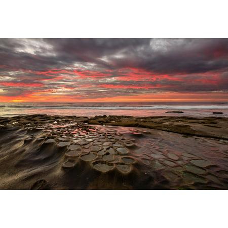 Tide Pools In La Jolla California At Sunset Photo Art Print Poster 18X12 Inch