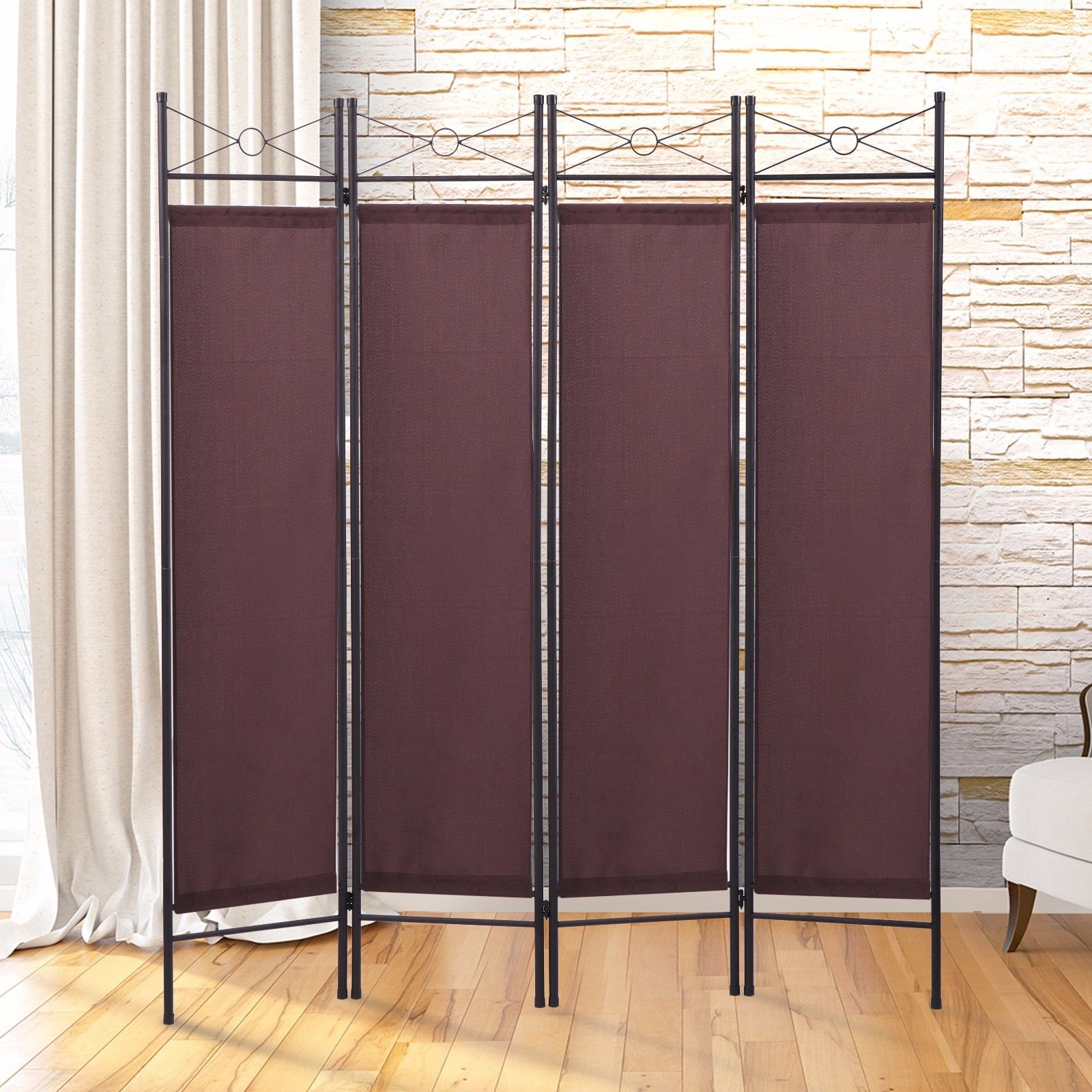 office room divider. lazymoon 4-panel steel room divider screen fabric folding partition home office privacy escpresso e