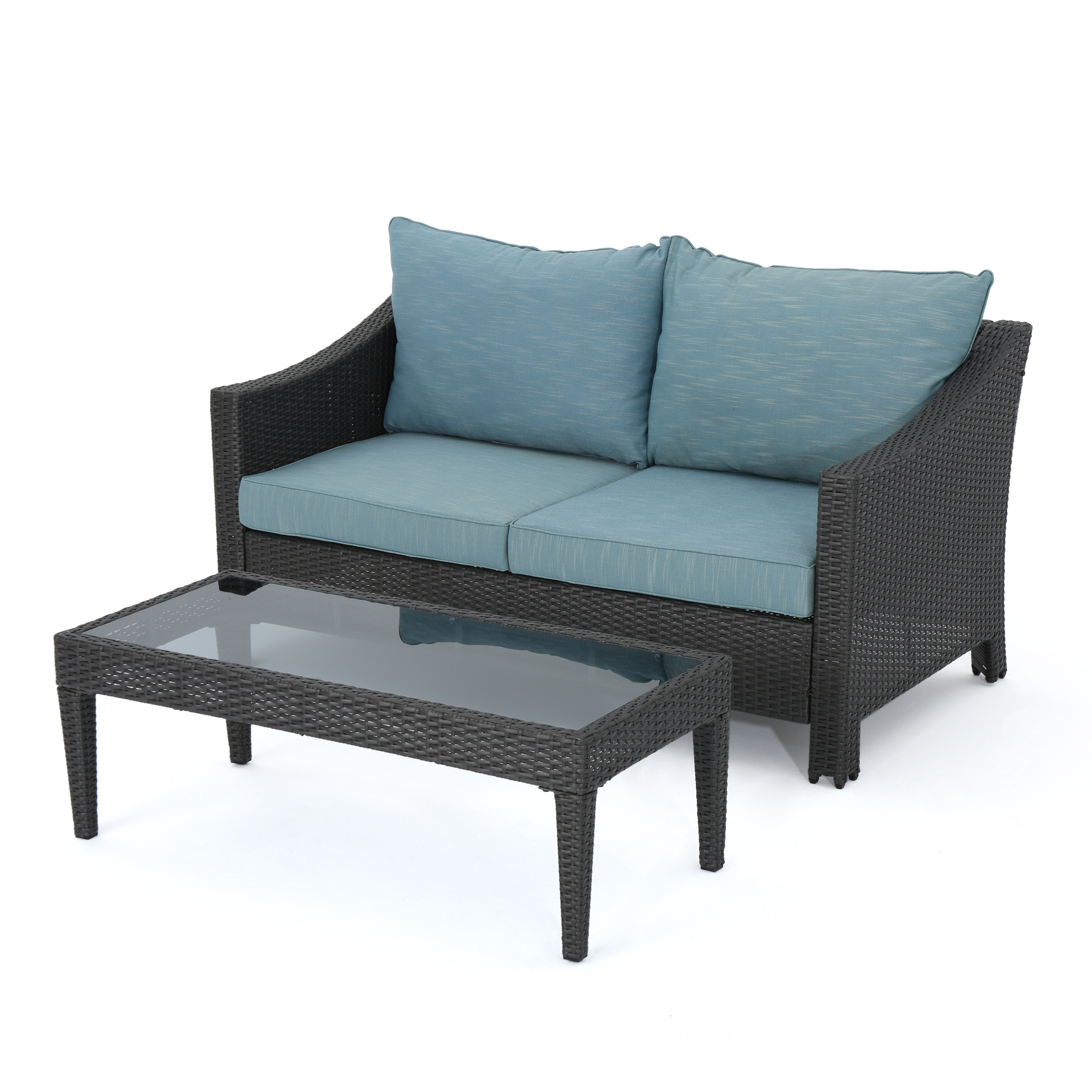 Charles Outdoor Grey Wicker Loveseat And Table Combo With