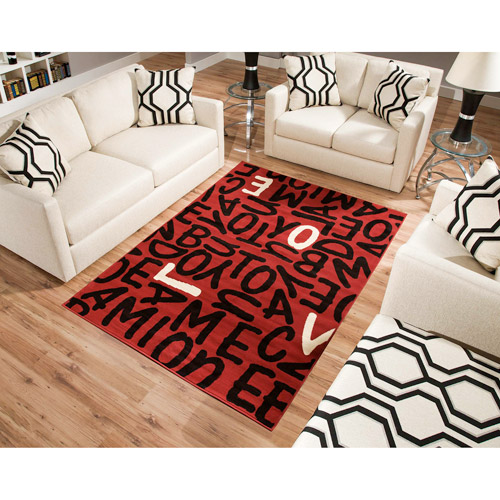 Terra Love Rectangle Area Rug Red