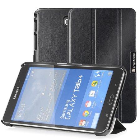 GreatShield-SLEEK-Slim-Hard-Leather-Stand-Case-Folio-Flip-Cover-for-Samsung-Galaxy-Tab-4-7-0-inch-Tablet-Black-