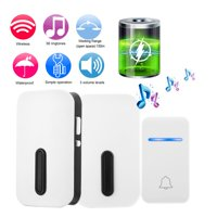 LHCER Home Security Wireless Self-generating Doorbell Alarm Waterproof Door Bell Kit 38 Chime US Plug, Smart Wireless Doorbell