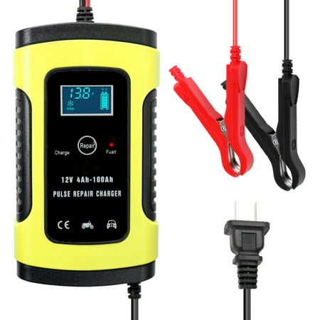 12V 6A Full Automatic Car Battery Charger Intelligent Fast Power Charging Pulse Repair Chargers Wet Dry Lead Acid Battery-chargers with Digital LCD Display (Charging Lead Acid Batteries)