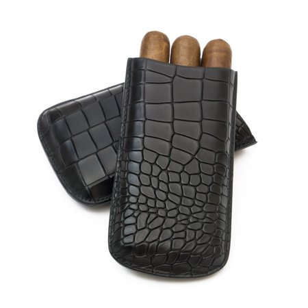 Black Leather 3 Finger (Tampa Fuego Cigar Case Deep Croco Grain Genuine Leather Black Big 3 Finger )